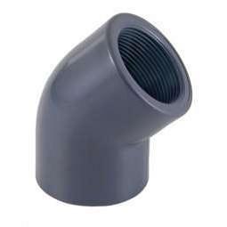 Отвод ПВХ 45 гр (клеевой-внутренняя резьба)