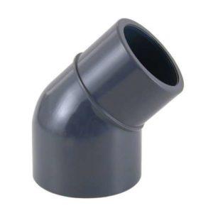 Отвод ПВХ 45гр (клеевой редукционный, муфтовое-втулочное окончание)